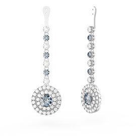 Fusion Aquamarine Halo 18ct White Gold Earrings Drops