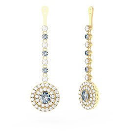 Fusion Aquamarine Halo 18ct Yellow Gold Earrings Drops