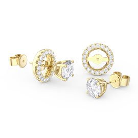 Fusion White Sapphire 18ct Gold Vermeil Stud Earrings Halo Jacket Set