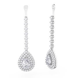 Fusion White Sapphire Pear Halo Platinum plated Silver Earring Drops