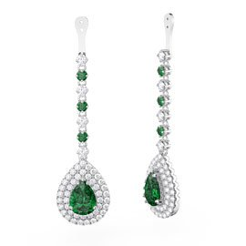 Fusion Emerald Pear Halo Platinum plated Silver Earrings Drops