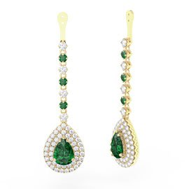 Fusion Emerald Pear Halo 18ct Gold Earrings Drops