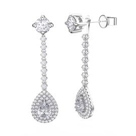 Fusion 3.57ct Diamond 18ct White Gold Pear Halo Stud Drop Earrings Set