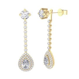 Fusion 3.57ct Diamond Pear Halo 18ct Yellow Gold Stud Drop Earrings Set