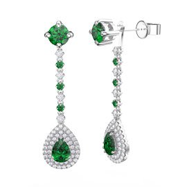 Fusion Emerald Pear Halo 18ct White Gold Stud Drop Earrings Set