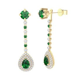 Fusion Emerald Pear Halo 18ct Gold Stud Drop Earrings Set