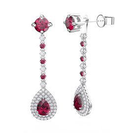 Fusion Ruby Pear Halo 18ct White Gold Stud Drop Earrings Set