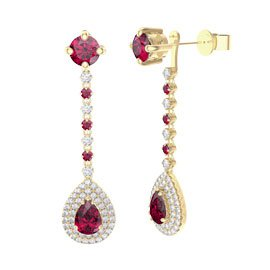 Fusion Ruby Pear Halo 18ct Yellow Gold Stud Drop Earrings Set