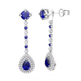 Fusion Sapphire Pear Halo Platinum plated Silver Stud Drop Earrings Set