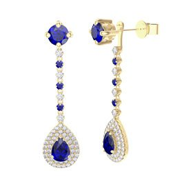 Fusion Sapphire Pear Halo 18ct Gold Vermeil Stud Drop Earrings Set