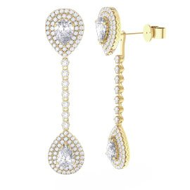 Fusion White Sapphire Pear Halo 18ct Gold Vermeil Stud and Drop Earrings Set
