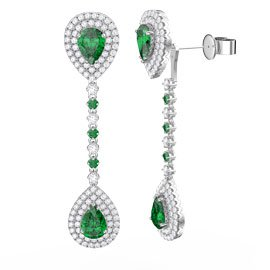 Fusion Emerald and Diamond Pear Halo 18ct White Gold Stud and Drop Earrings Set