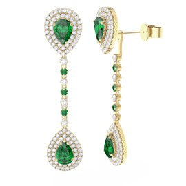 Fusion Emerald and Diamond Pear Halo 18ct Gold Stud and Drop Earrings Set