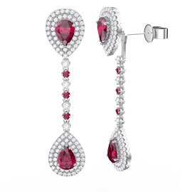 Fusion Ruby Pear Halo Platinum plated Silver Halo Stud Drop Earrings Set