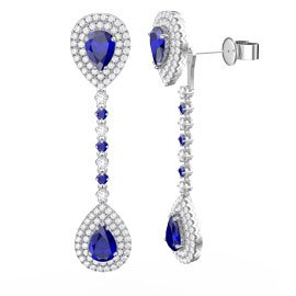 Fusion Sapphire Pear Halo Platinum plated Silver Stud and Drop Earrings Set