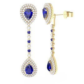 Fusion Sapphire Pear Halo 18ct Gold Vermeil Stud and Drop Earrings Set