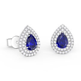 Fusion Sapphire Pear Halo Platinum plated Silver Stud Earrings