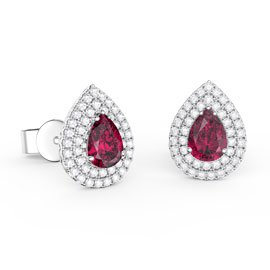 Fusion Ruby Pear Halo Platinum plated Silver Stud Earrings