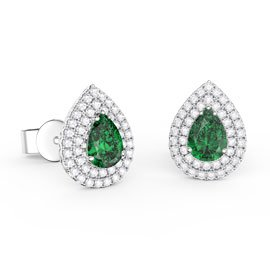 Fusion Emerald Pear Halo Platinum plated Silver Stud Earrings