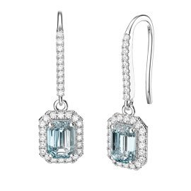Princess Aquamarine Emerald Cut Halo 18ct White Gold Pave Drop Earrings