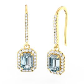 Princess Aquamarine Emerald Cut Halo 18ct Yellow Gold Pave Drop Earrings