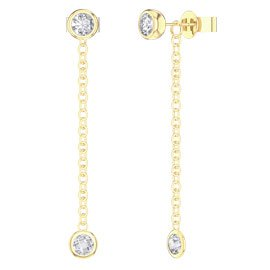 By the Yard White Sapphire 18ct Gold Vermeil Stud and Drop Earrings Set