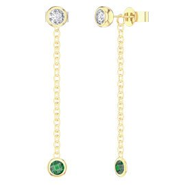 By the Yard Emerald 18ct Gold Vermeil Stud and Drop Earrings Set