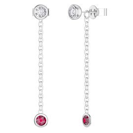 By the Yard Ruby Platinum plated Silver Stud and Drop Earrings Set