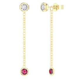 By the Yard Ruby 18ct Gold Vermeil Stud and Drop Earrings Set
