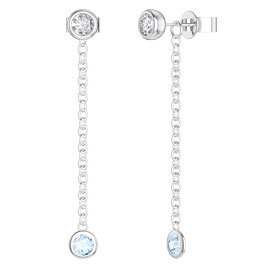 By the Yard Aquamarine Platinum plated Silver Stud and Drop Earrings Set