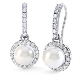 Venus Pearl Halo 18ct White Gold Pave Drop Earrings