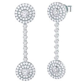 Fusion White Sapphire Halo Platinum plated Silver Stud and Drop Earrings Set