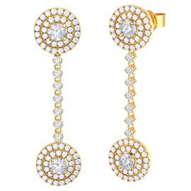 Fusion White Sapphire Halo 18ct Yellow Gold Stud and Drop Earrings Set