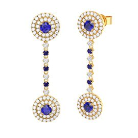 Fusion Sapphire Halo 18ct Gold Vermeil Stud and Drop Earrings Set