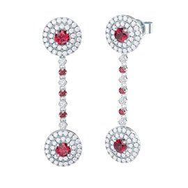 Fusion Ruby 18ct White Gold Halo Stud Drop Earrings Set