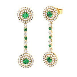 Fusion Emerald 18ct Gold Vermeil Stud and Halo Drop Earrings Set