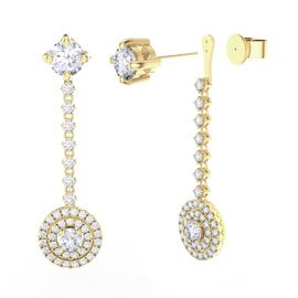 Fusion White Sapphire Halo 18ct Yellow Gold  Stud Drop Earrings Set