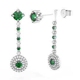 Fusion Emerald Halo Platinum plated Silver Stud Drop Earrings Set