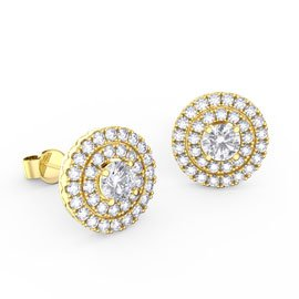 Fusion White Sapphire Halo 18ct Gold Vermeil Stud Earrings