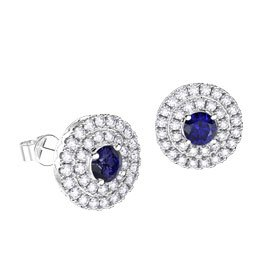 Fusion Sapphire Halo Platinum plated Silver Stud Earrings