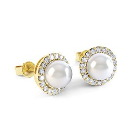 Venus Pearl Halo 18ct Gold Vermeil Stud Earrings