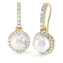 Venus Pearl Halo 18ct Gold Vermeil Pave Drop Earrings