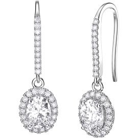 Eternity 1.5ct White Sapphire Oval Halo 18ct White Gold Pave Drop Earrings