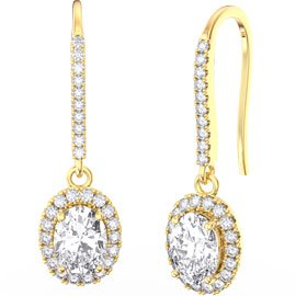 Eternity 1.5ct White Sapphire Oval Halo 18ct Yellow Gold Pave Drop Earrings