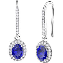 Eternity 1.5ct Sapphire Oval Halo 18ct White Gold Pave Drop Earrings