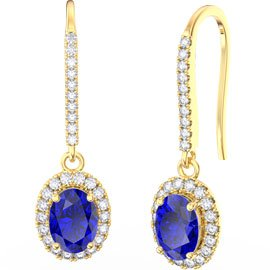 Eternity 1.5ct Sapphire Oval Halo 18ct Yellow Gold Pave Drop Earrings
