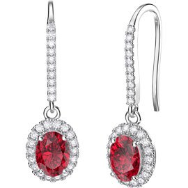 Eternity 1.5ct Ruby Oval Halo 18ct White Gold Pave Drop Earrings