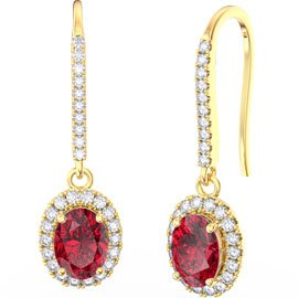 Eternity 1.5ct Ruby Oval Halo 18ct Yellow Gold Pave Drop Earrings
