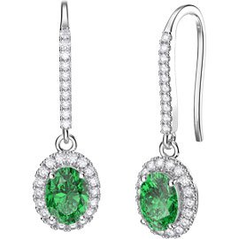 Eternity 1.5ct Emerald Oval Halo 18ct White Gold Pave Drop Earrings