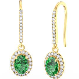 Eternity 1.5ct Emerald Oval Halo 18ct Yellow Gold Pave Drop Earrings